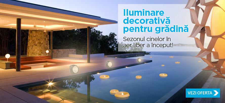 Iluminare decorativa pentru gradina: lumanari de exterior, sfesnice, corpuri de iluminat