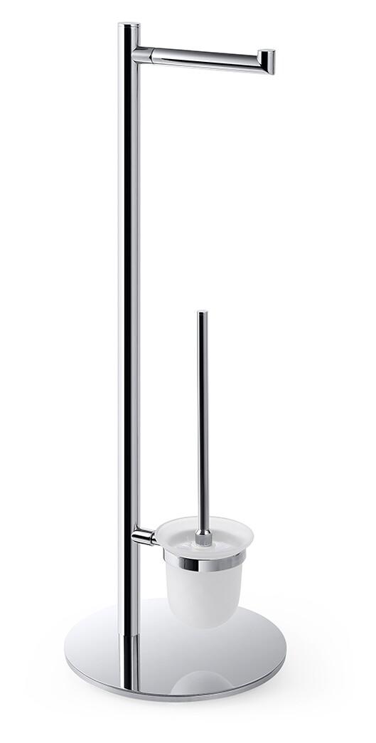 Suport stativ Bemeta Omega cu suport hartie igienica si perie wc crom imagine