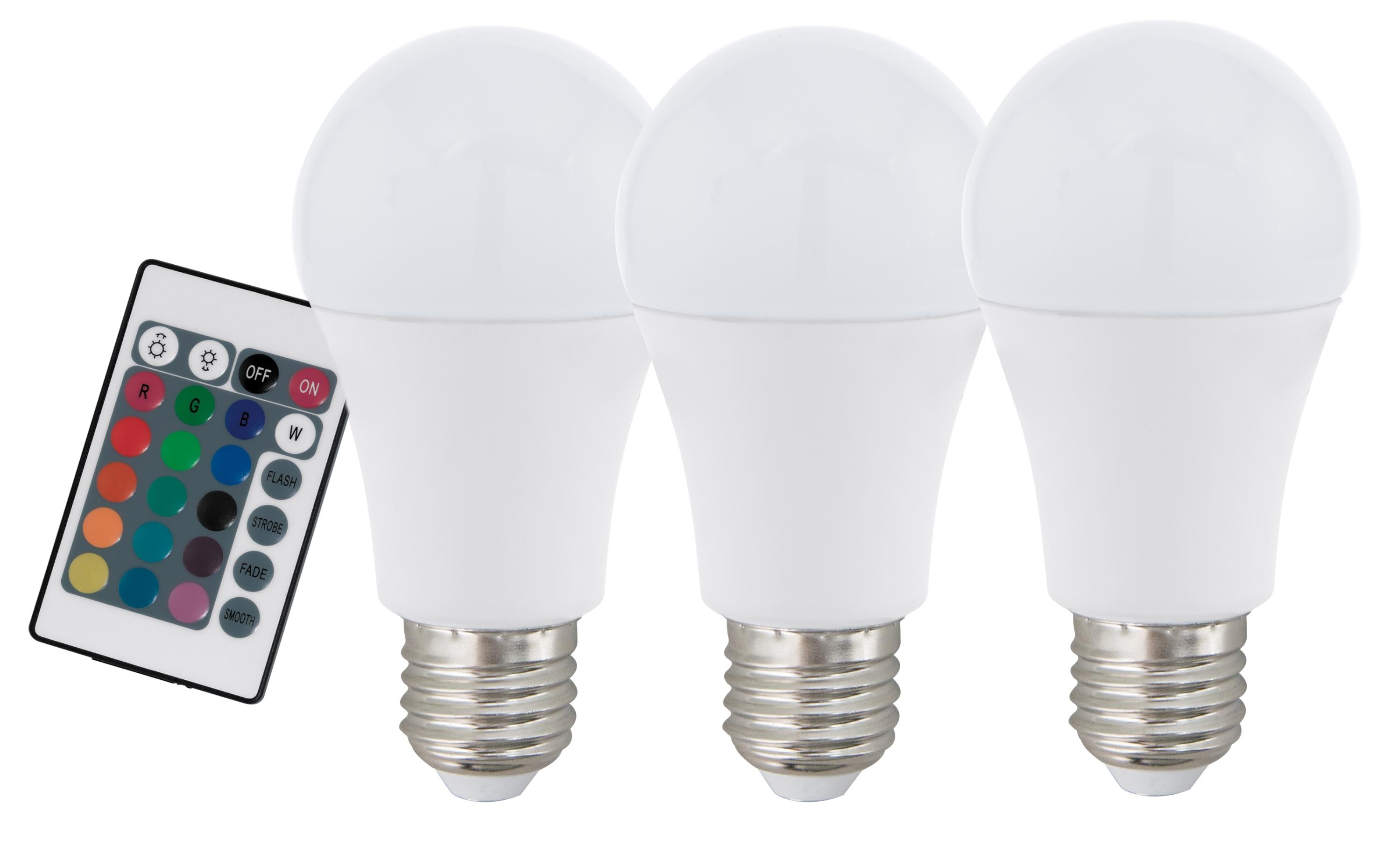Set 3 becuri cu telecomanda Eglo LED E27-A60 RGBW 7 5W poza