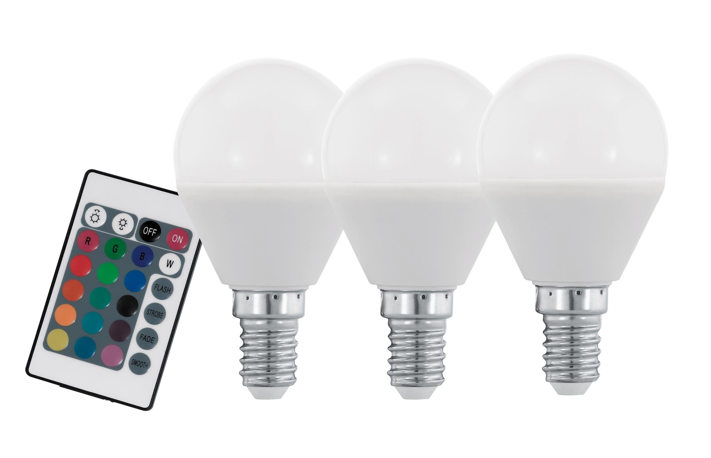 Set 3 becuri cu telecomanda Eglo LED E14-P45 RGBW 4W poza