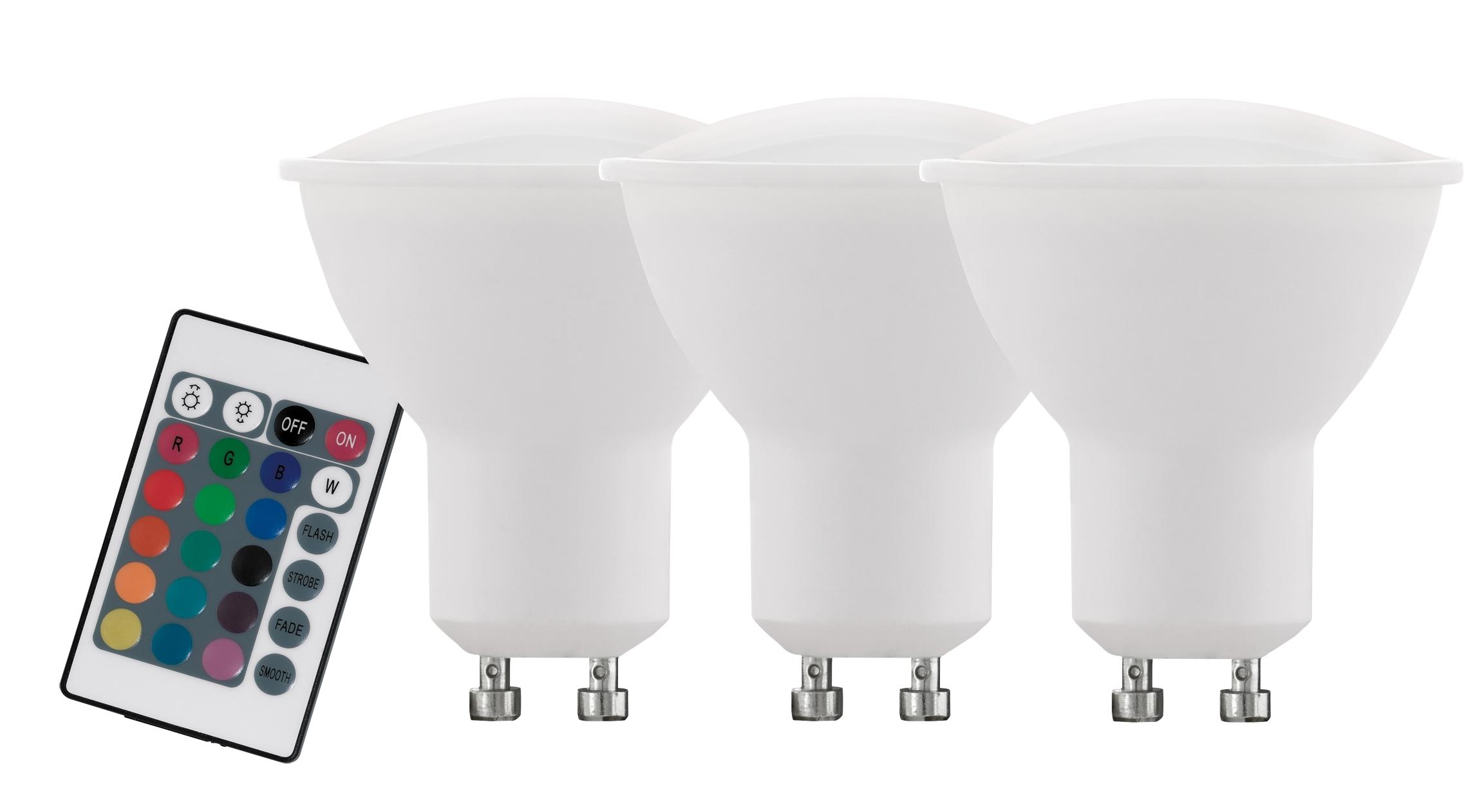 Set 3 becuri cu telecomanda Eglo LED LM-GU10 RGBW 4W poza