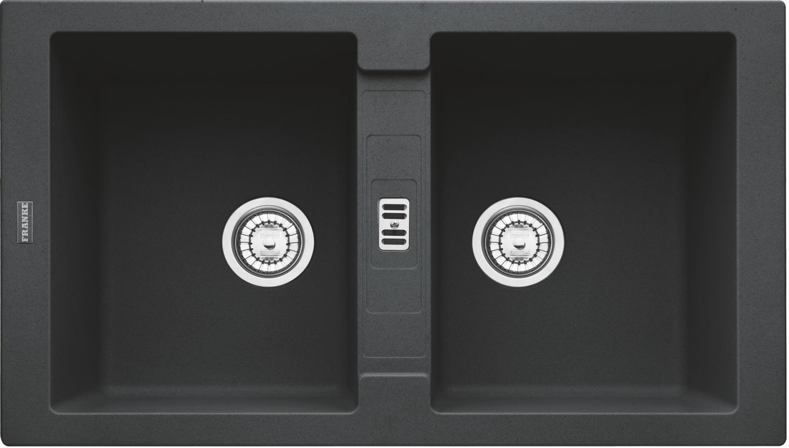 Chiuveta bucatarie fragranite Franke Maris MRG 620 cu doua cuve 860x500mm tehnologie Sanitized Nero imagine sensodays.ro