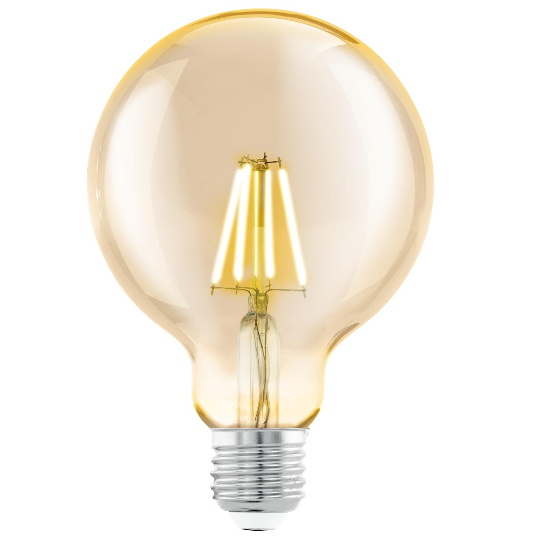 Bec LED Eglo Vintage Style Amber E27-LED G95 4W 2200K 25000 ore imagine sensodays.ro
