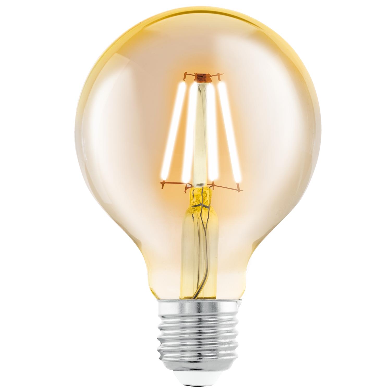 Bec LED Eglo Vintage Style Amber E27-LED G80 4W 2200K 25000 ore imagine sensodays.ro