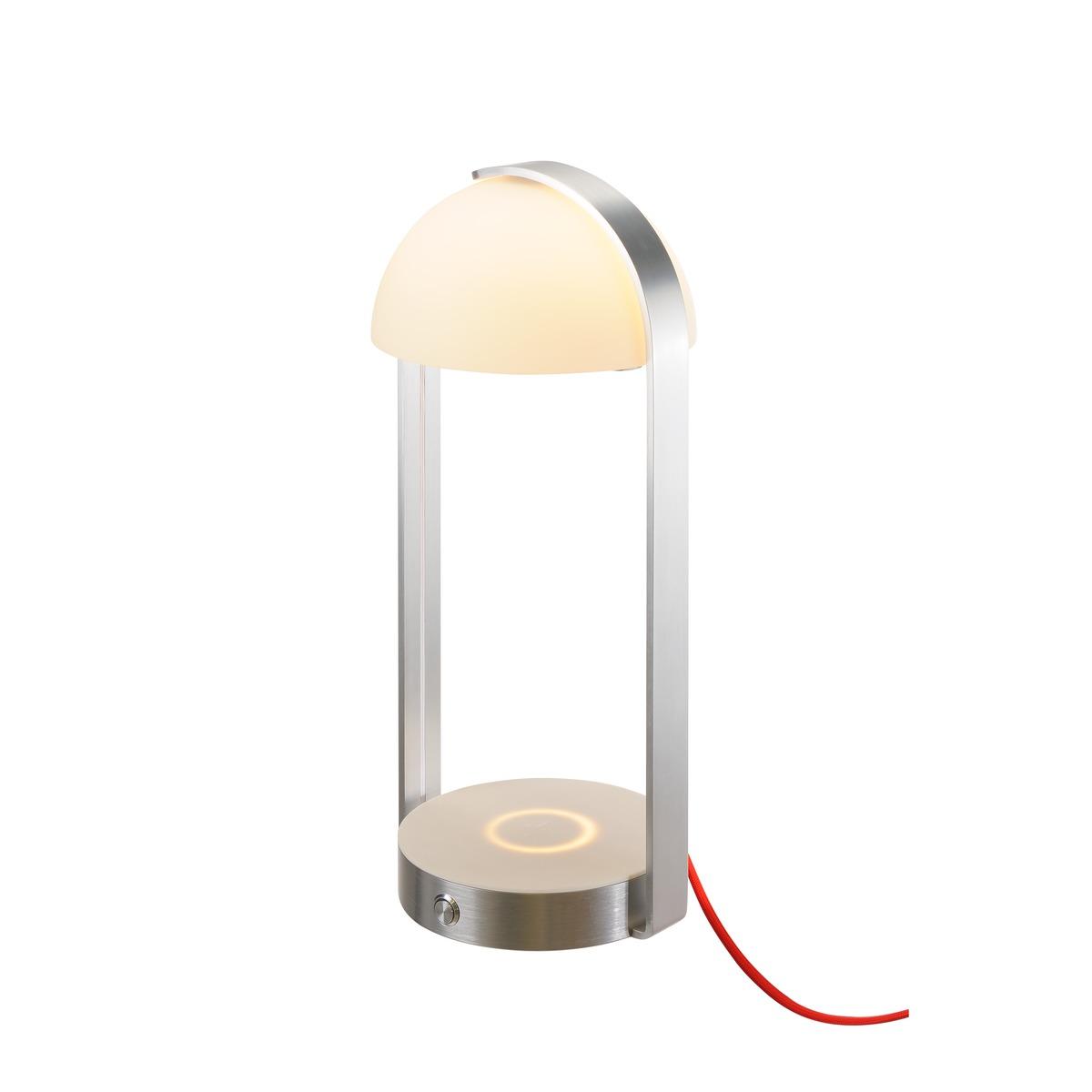 Veioza SLV Brenda LED 11W h40cm incarcare wireless USB argintiu-alb imagine