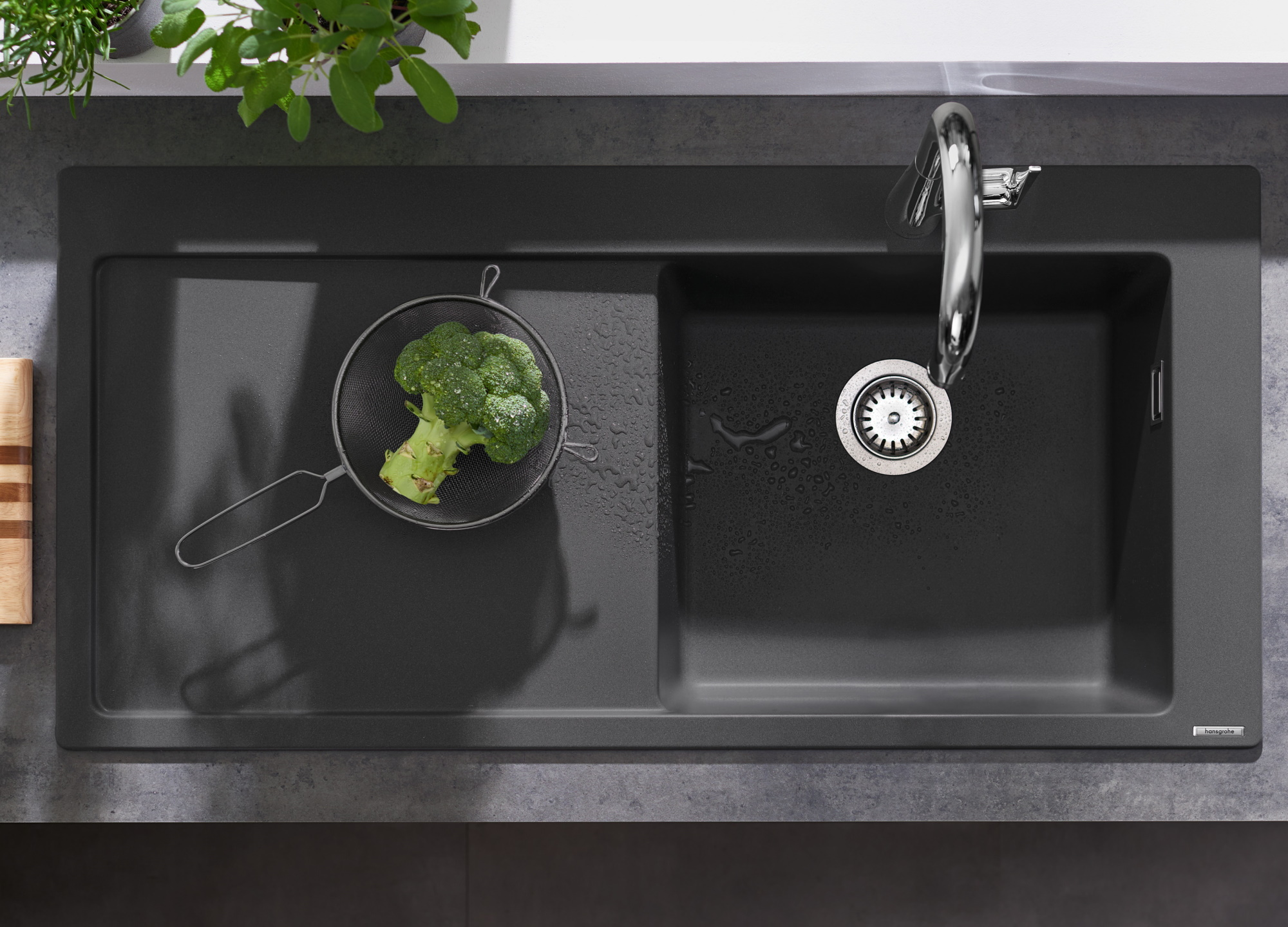 Chiuveta bucatarie Hansgrohe S514-F450 SilicaTec 450 51x105x19cm picurator stanga graphite black imagine sensodays.ro