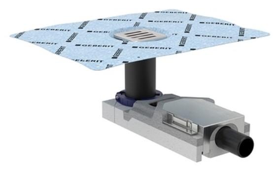 Sifon de pardoseala Geberit FloorDrain cu gratar inox pentru pardoseli 65-90 mm