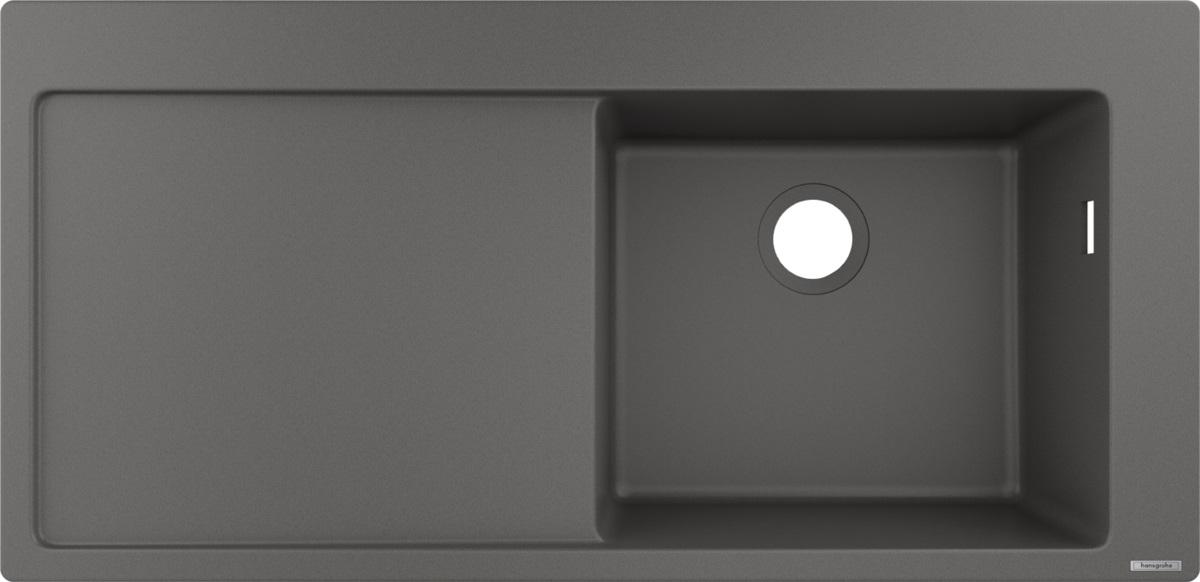 Chiuveta bucatarie Hansgrohe S514-F450 SilicaTec 450 51x105x19cm picurator stanga stone grey imagine sensodays.ro