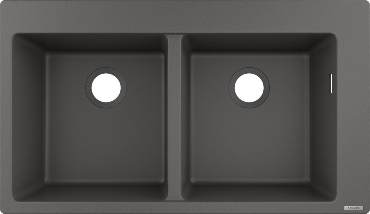 Chiuveta bucatarie Hansgrohe S510-F770 SilicaTec 370/370 cu 2 cuve 41.5x88x19cm stone grey poza