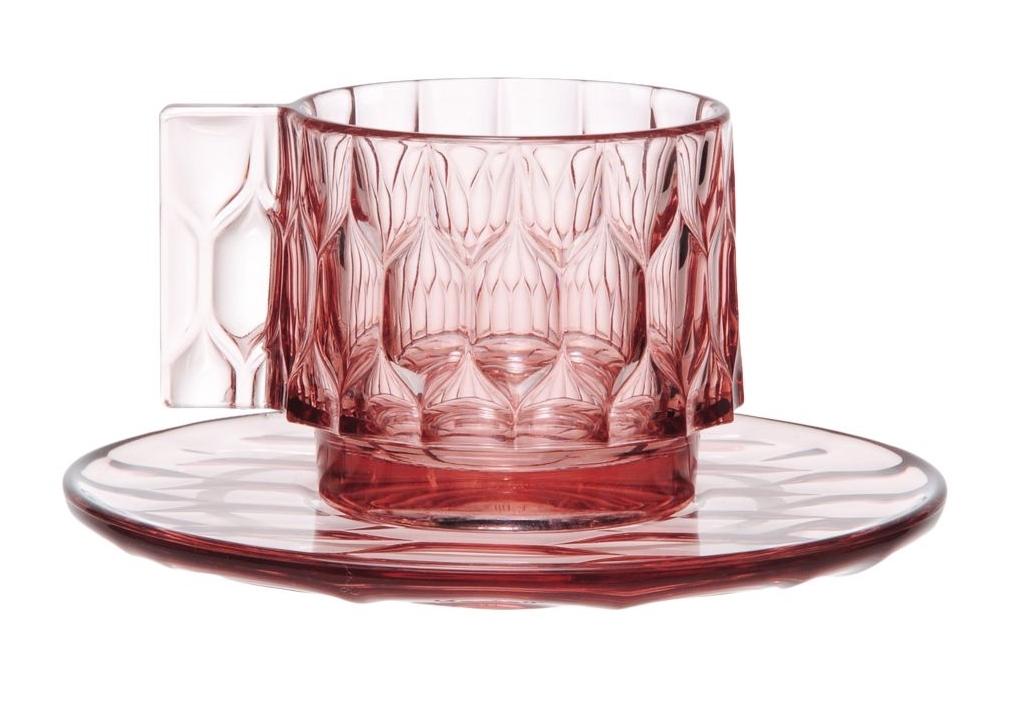 Ceasca si farfuriuta Kartell Jellies Family design Patricia Urquiola roz transparent imagine