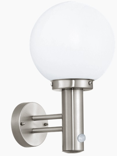Aplica de perete Eglo Modern Nisia 1x 60W Sensor Inox Alb Opal poza