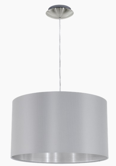 Pendul Eglo Maserlo 1x60W d 38cm colectia Textile Nichel Grey Silver poza