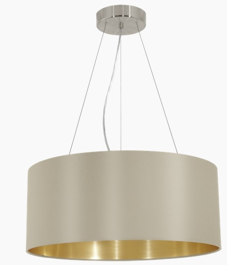 Pendul Eglo Maserlo 3x60W d 53cm colectia Textile Nichel Taupe Gold