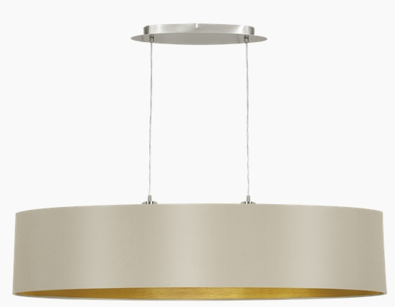 Pendul Eglo Maserlo 2x60W L 100cm colectia Textile Nichel Taupe Gold