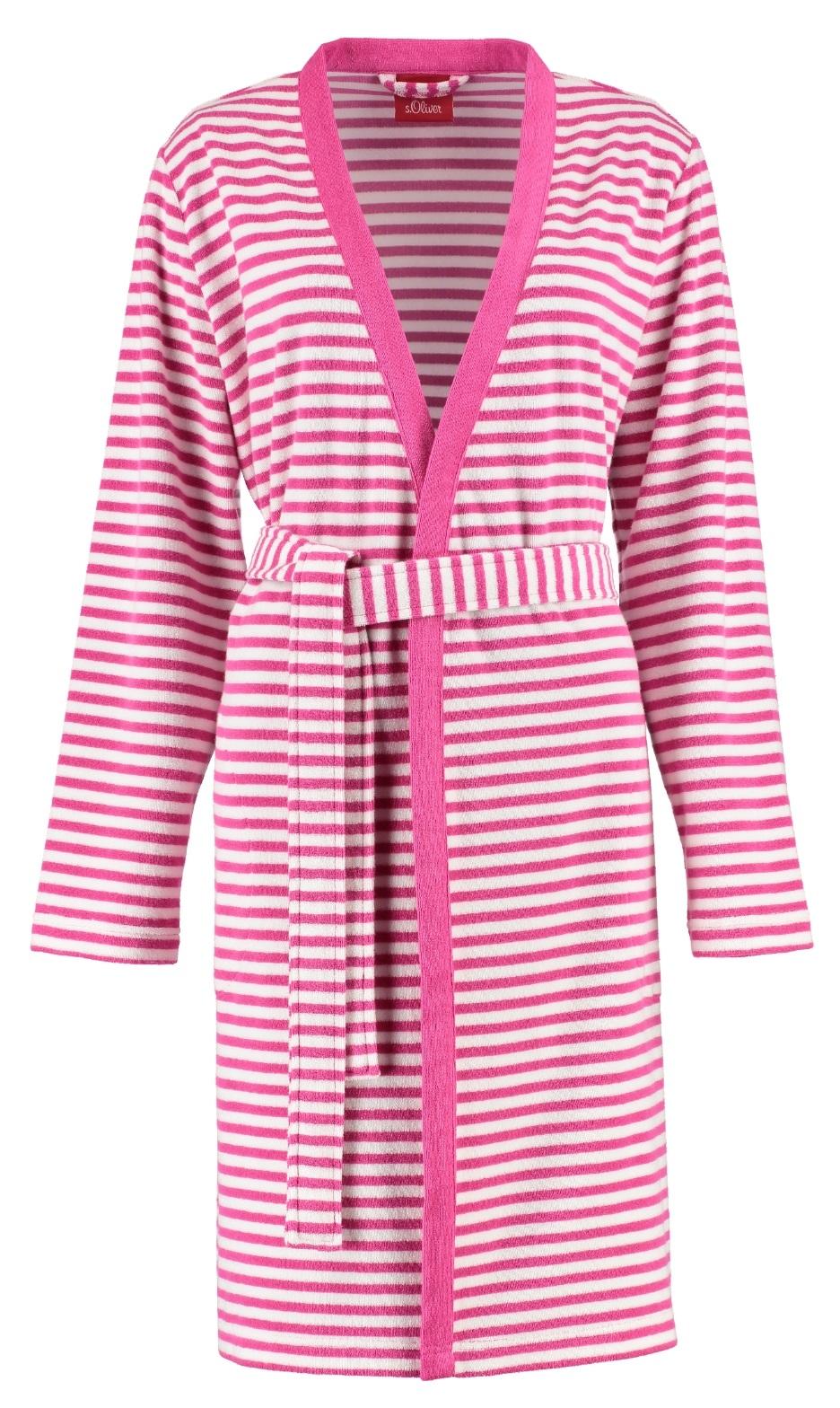 Halat de baie S`Oliver dama model kimono dungi lungime 100 cm Pink