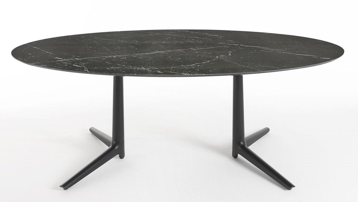 Masa ovala Kartell Multiplo XL design Antonio Citterio 192x118cm h75cm blat cu finisaj marmura negru poza