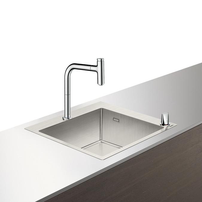 Set Hansgrohe Sink Combi C71-F450-06 chiuveta inox 550mm + baterie din doua elemente cu dus extractibil crom poza