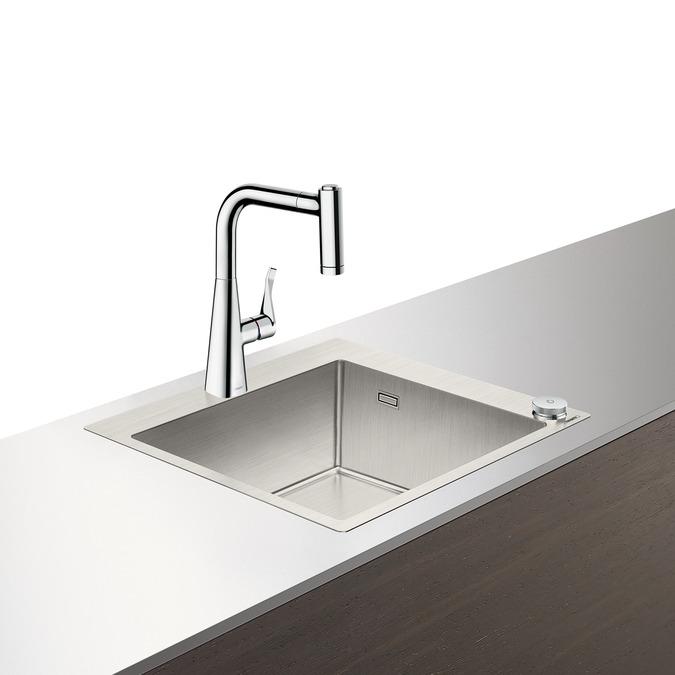 Set Hansgrohe Select Sink Combi C71-F450-01 chiuveta inox 550mm + baterie cu pipa rotativa si dus extractibil crom poza