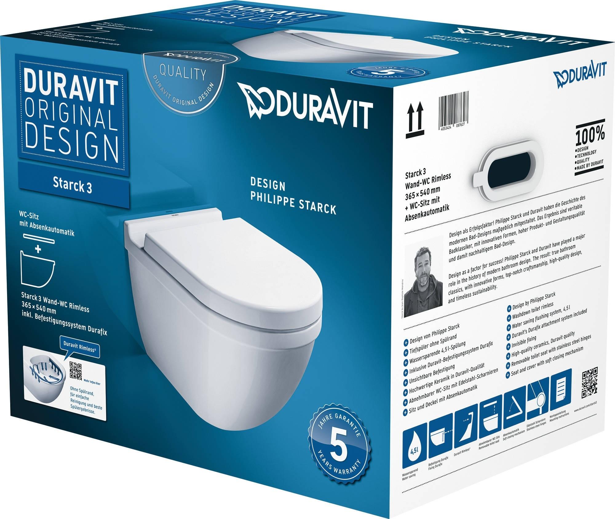 Set vas WC suspendat Duravit Starck 3 Rimless cu capac inchidere lenta imagine sensodays.ro
