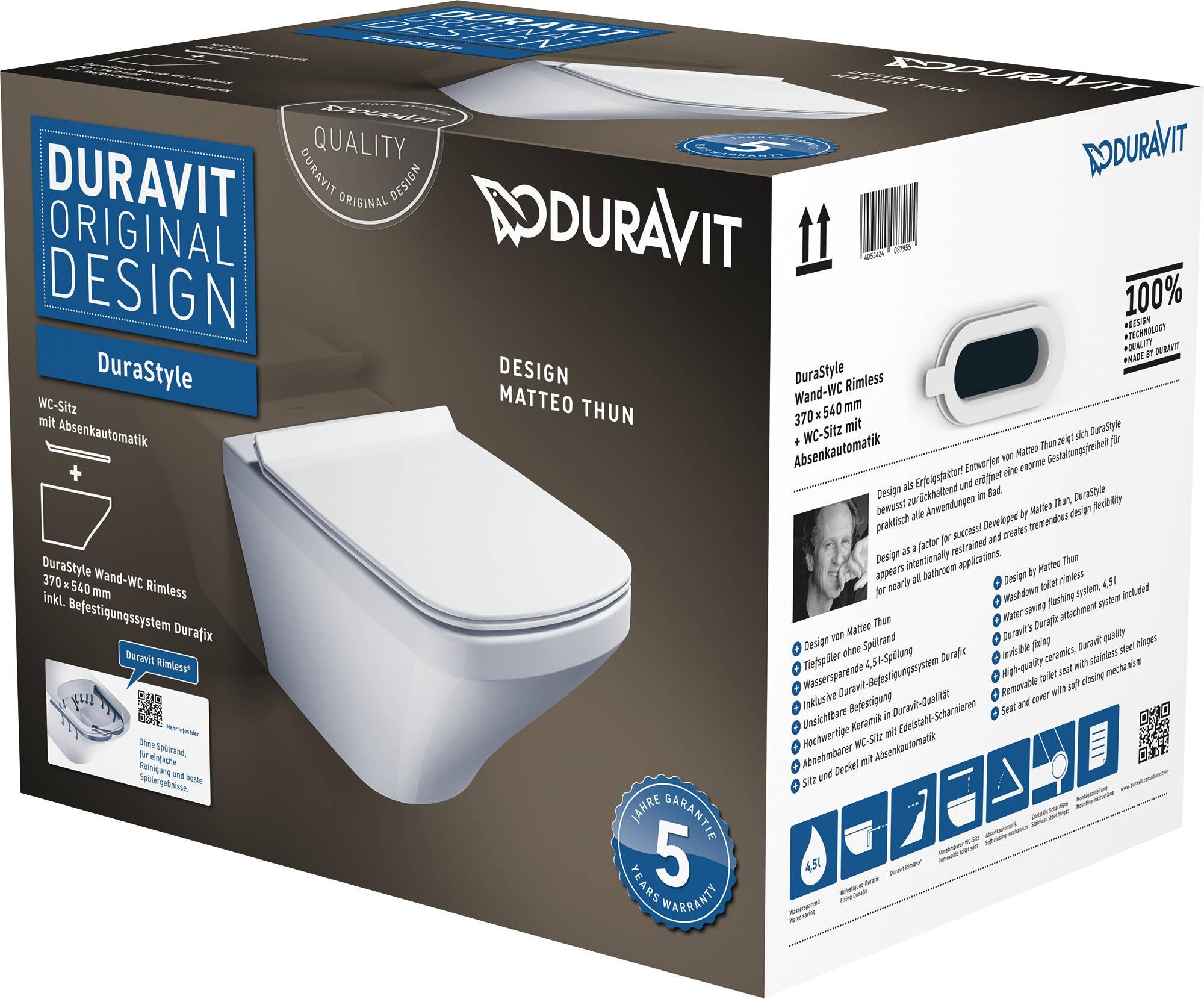 Set vas WC suspendat Duravit Durastyle Rimless cu capac inchidere lenta imagine sensodays.ro