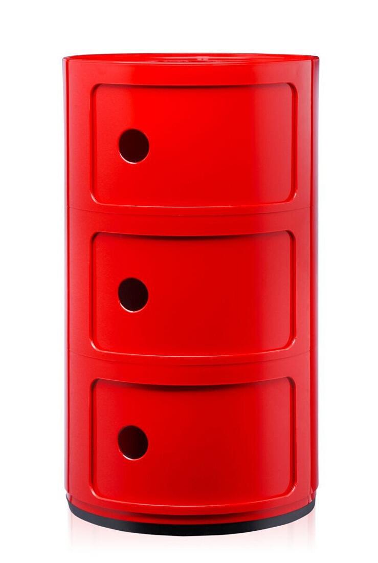 Comoda modulara Kartell Componibili 3 design Anna Castelli Ferrieri rosu