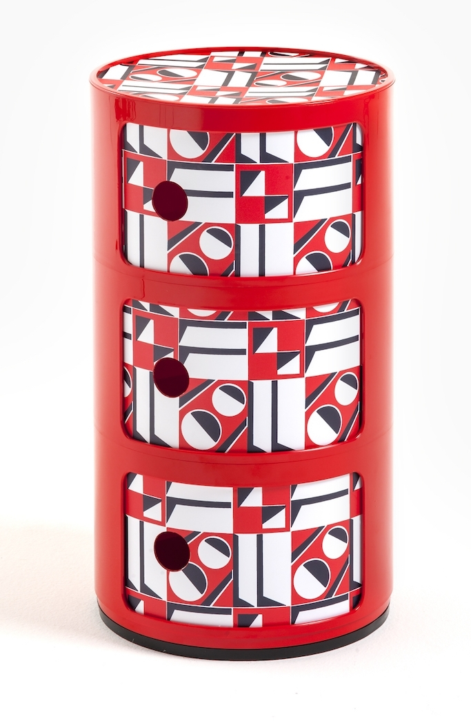 Comoda modulara Kartell Componibili 3 design Anna Castelli Ferrieri editie Double J rosu model geometric