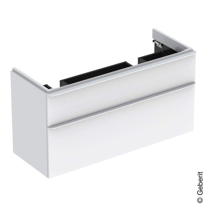 Dulap baza Geberit Smyle Square pentru lavoar dublu 120cm doua sertare alb lucios imagine