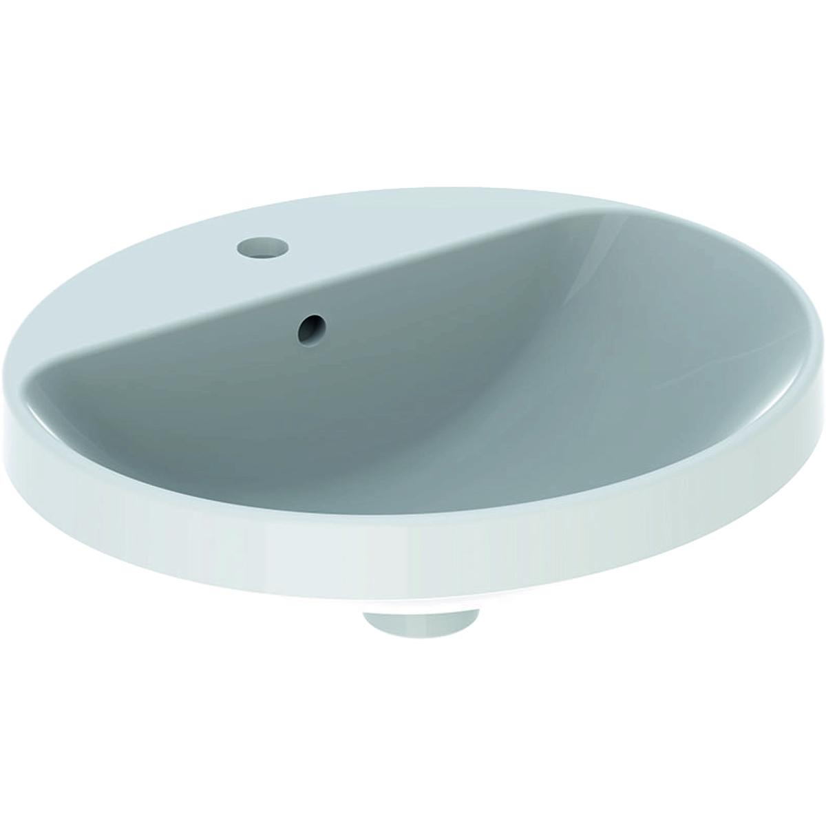 Lavoar oval Geberit VariForm 50x45cm montare in blat alb imagine sensodays.ro