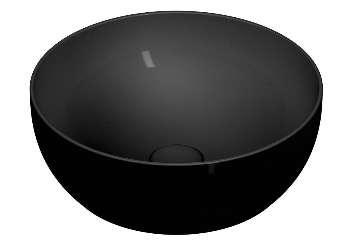 Lavoar tip bol Vitra Outline Round VitrAclean 40cm fara orificiu baterie fara preaplin ventil ceramic negru mat imagine sensodays.ro