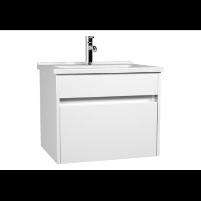 Set mobilier Vitra S50+ dulap baza cu 1 sertar alb lucios sifon si lavoar 60cm