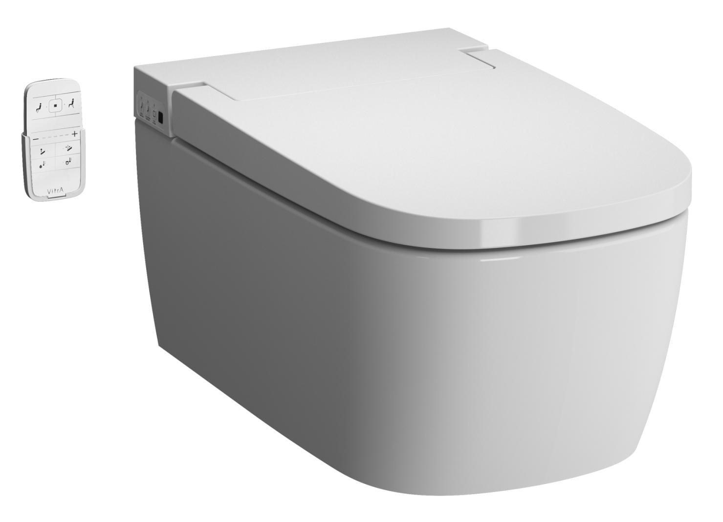 Set vas WC suspendat Vitra Metropole Rim-Ex V-Care Smart Basic 60cm capac cu inchidere lenta si functie de bideu