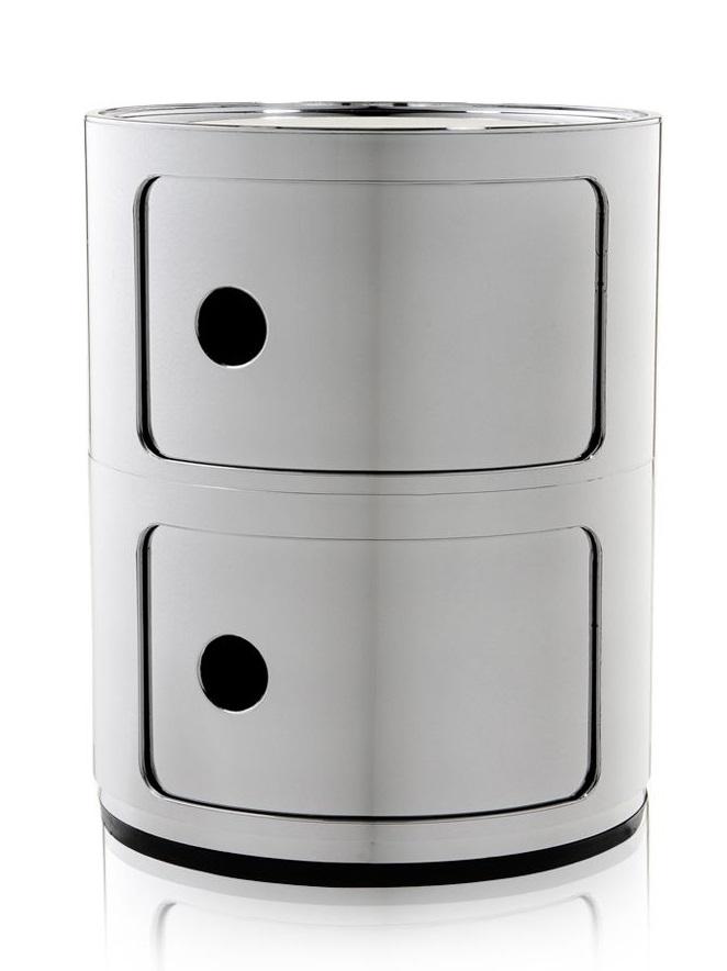 Comoda modulara Kartell Componibile 2 design Anna Castelli Ferrieri crom metalizat