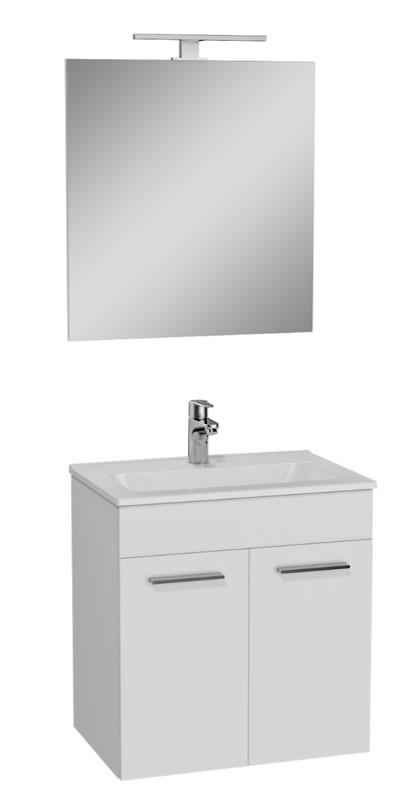 Set mobilier VitrA Mia 60cm cu lavoar dulap baza alb cu 2 sertare si oglinda cu aplica si spot imagine