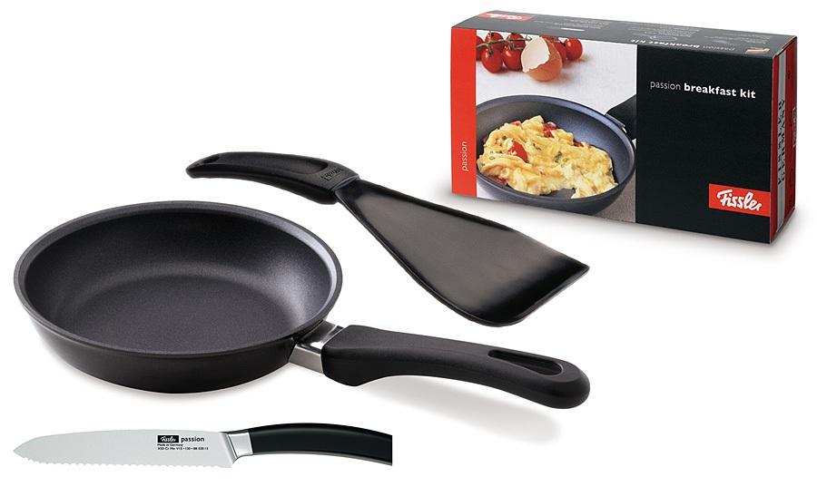 Set Fissler Passion Breakfast Kit: Tigaie Antiaderenta 16cm Cutit Zimtat 13 Cm Spatula