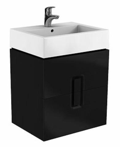 Dulap baza Kolo Twins cu 2 sertare cu inchidere lenta 60cm culoare negru mat imagine sensodays.ro