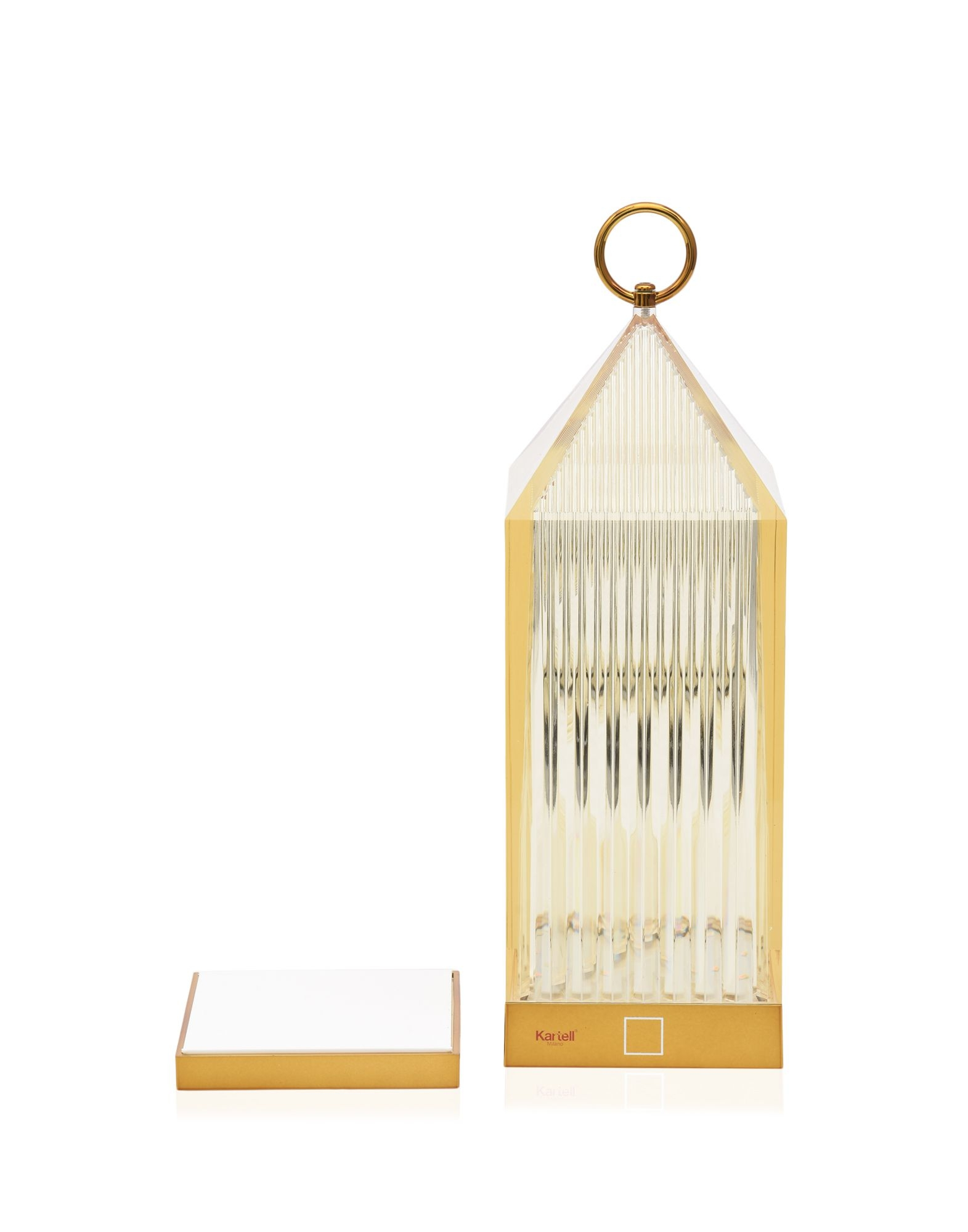 Lampa portabila de exterior Kartell Lantern design Fabio Novembre 1 2W LED chihlimbar transparent poza