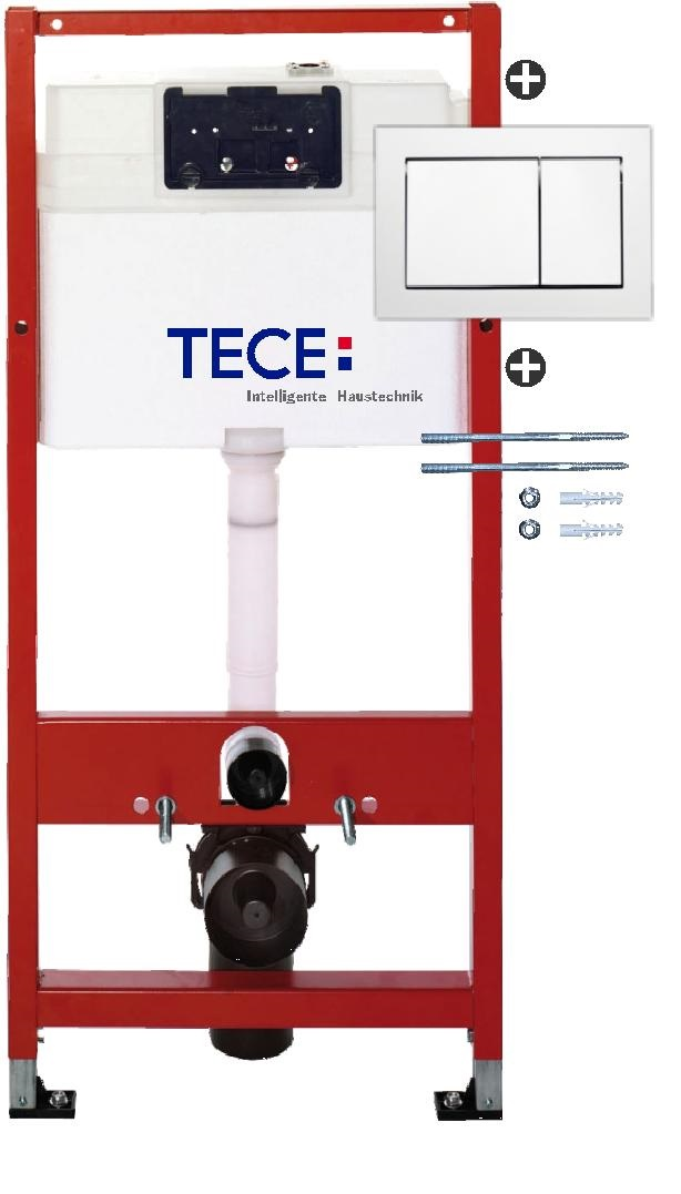 Set rezervor incastrat Tece TeceBase contine set fixare si clapeta TeceBase alb