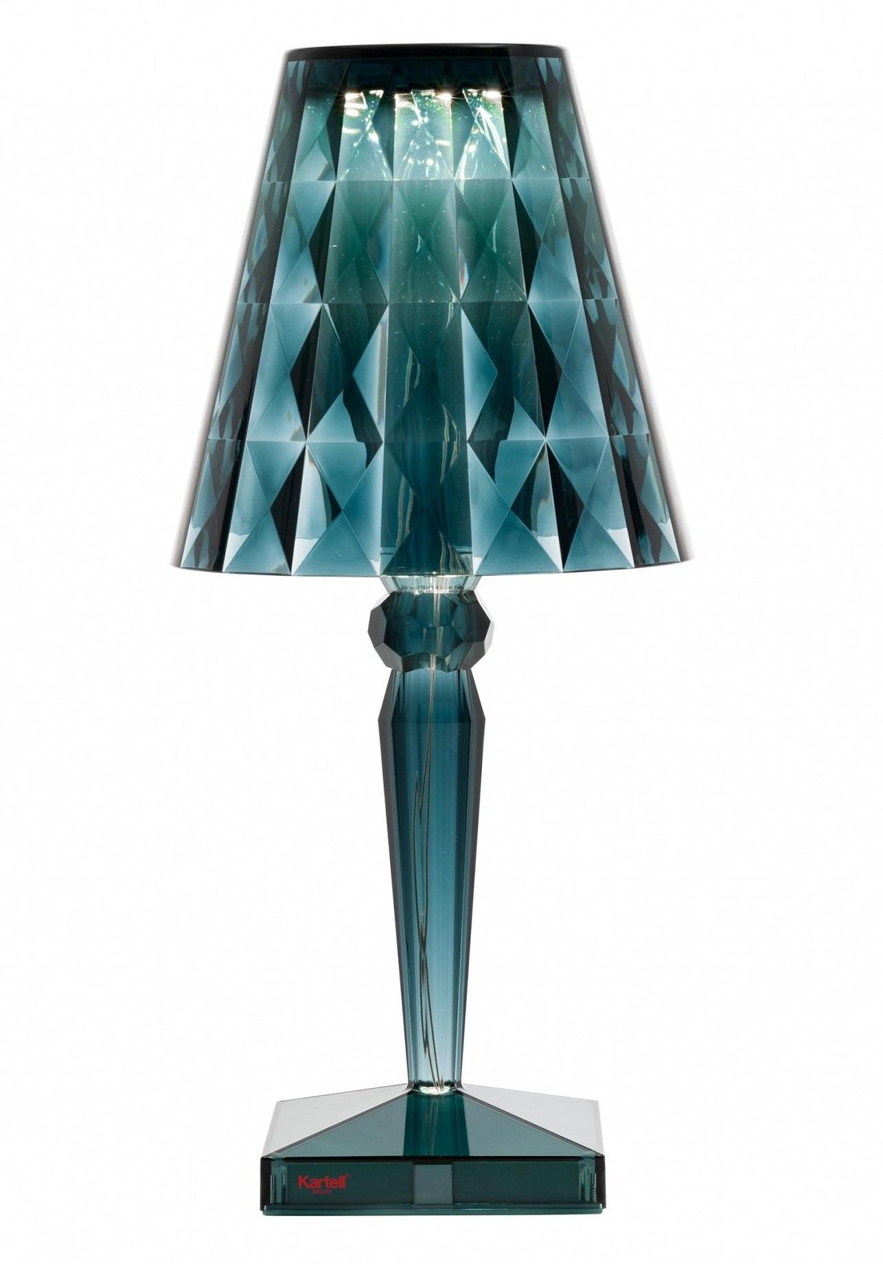 Veioza Kartell Big Battery design Ferruccio Laviani LED 3W h37.3cm albastru transparent