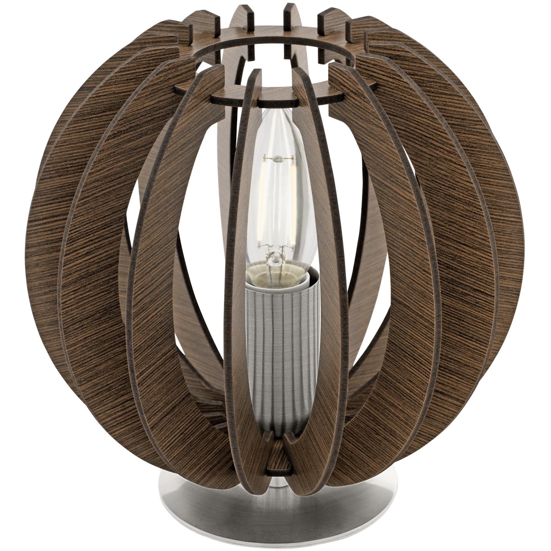 Veioza Eglo Trend Cossano 1x40W h18.5cm nichel-lemn maro