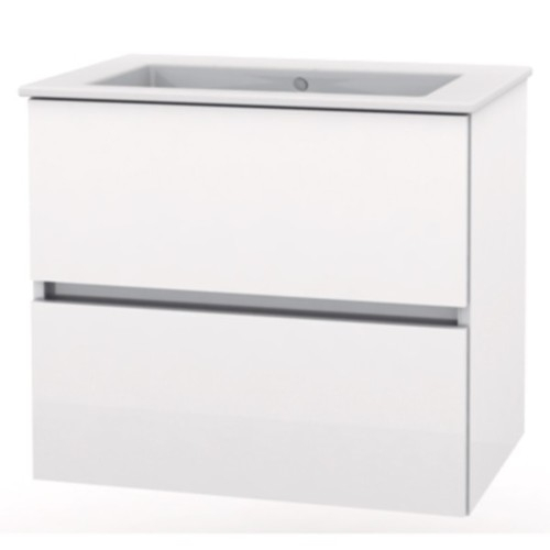 Set mobilier Roca Cube lavoar si dulap baza cu 2 sertare 55x43cm alb