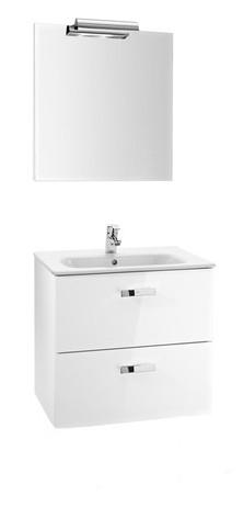 Set mobilier Roca Victoria Basic dulap baza cu 2 sertare 60x45cm alb lavoar si oglinda iluminata