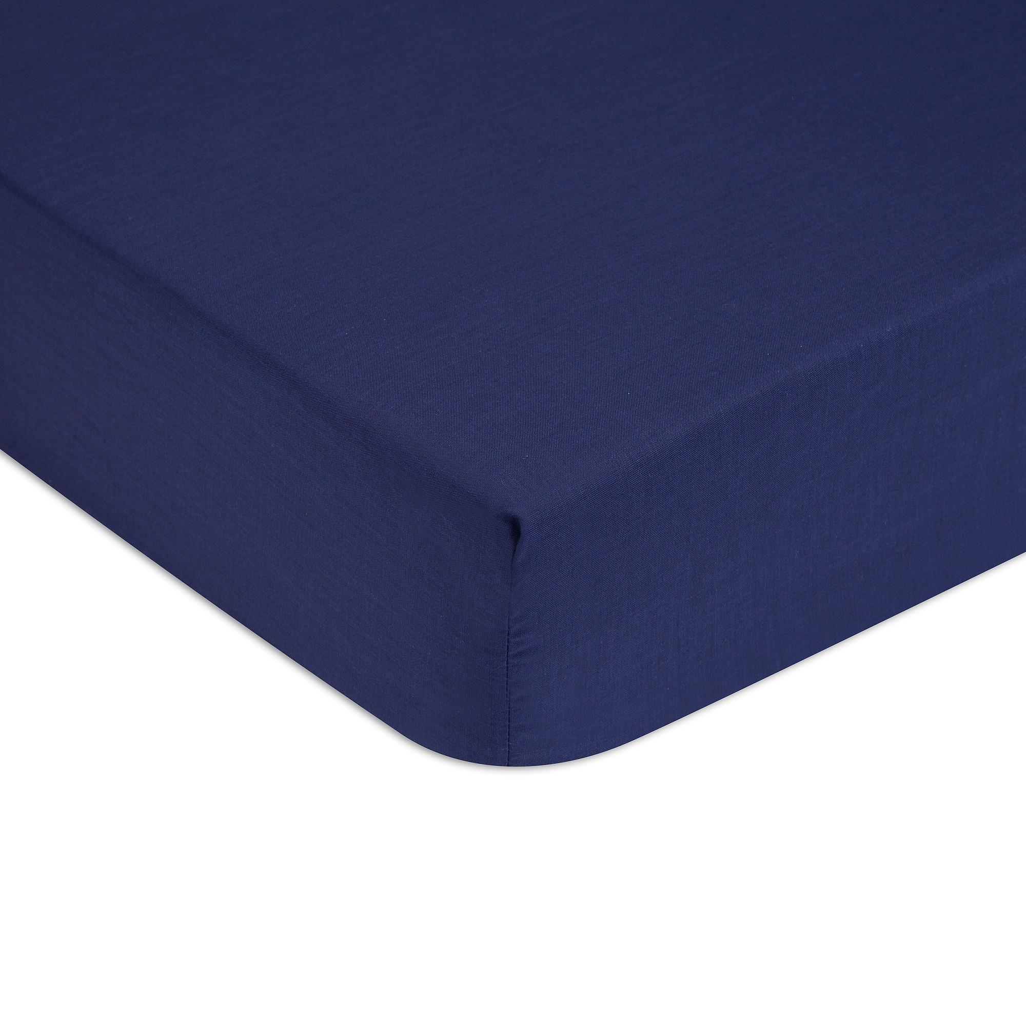 Cearceaf de pat cu elastic Tommy Hilfiger Unis Percale Albastru Navy imagine