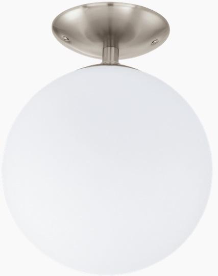 Aplica tavan Eglo Basic Rondo 1x 60W Nichel satinat Sticla Opal mata imagine sensodays.ro