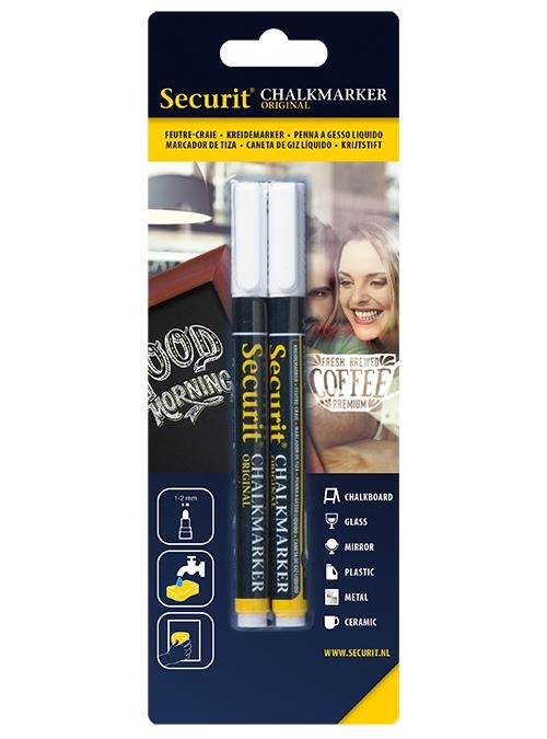 Set 2 markere creta Securit Liquid Small 1-2mm alb poza