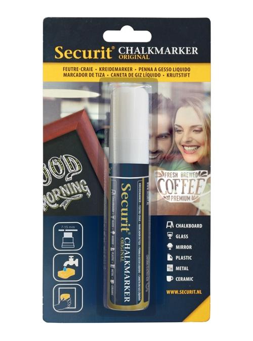 Marker creta Securit Liquid Large 7-15mm alb imagine