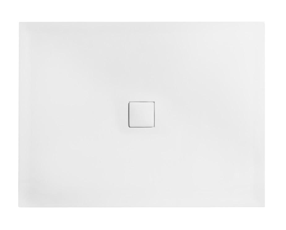 Cadita dus dreptunghiulara Besco Nox ultraslim 120x90x3 5 cm compozit alb imagine sensodays.ro