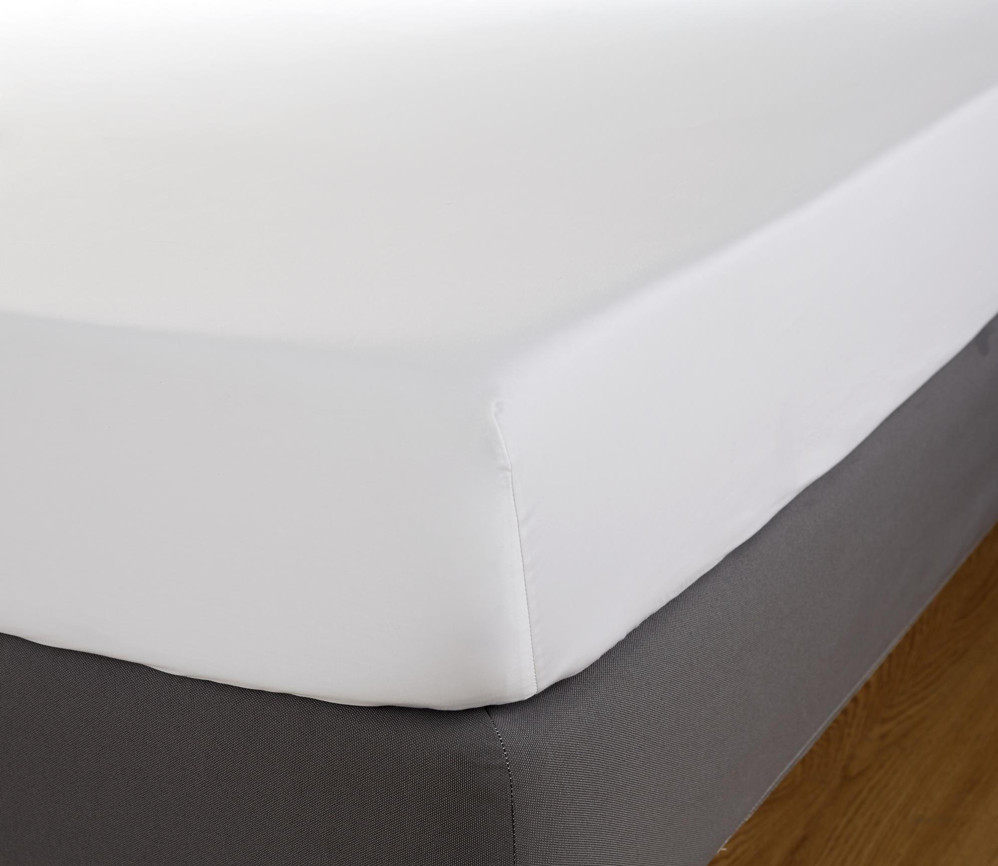 Cearceaf de pat cu elastic Behrens 600TC 180x200cm alb imagine
