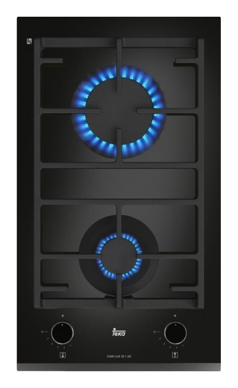 Plita gaz incorporabila Teka CGW LUX 30.1 2G AI AL CI Domino 2 arzatoare gratare fonta negru