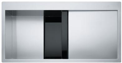 Chiuveta bucatarie Franke Crystal Line CLV 214 picurator stanga 1000x512mm inox - sticla finisaj Cristallo Nero poza