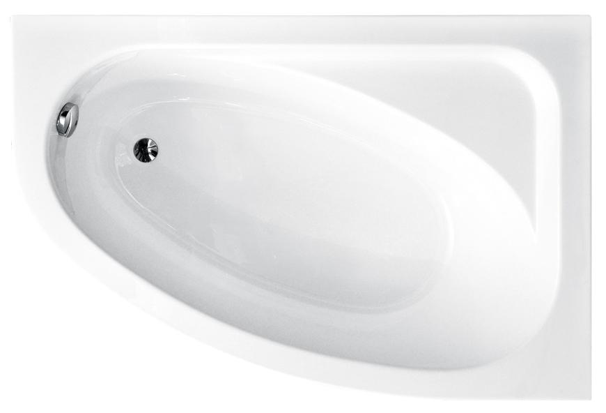 Cada baie asimetrica Besco Cornea 140x80cm acril orientare dreapta